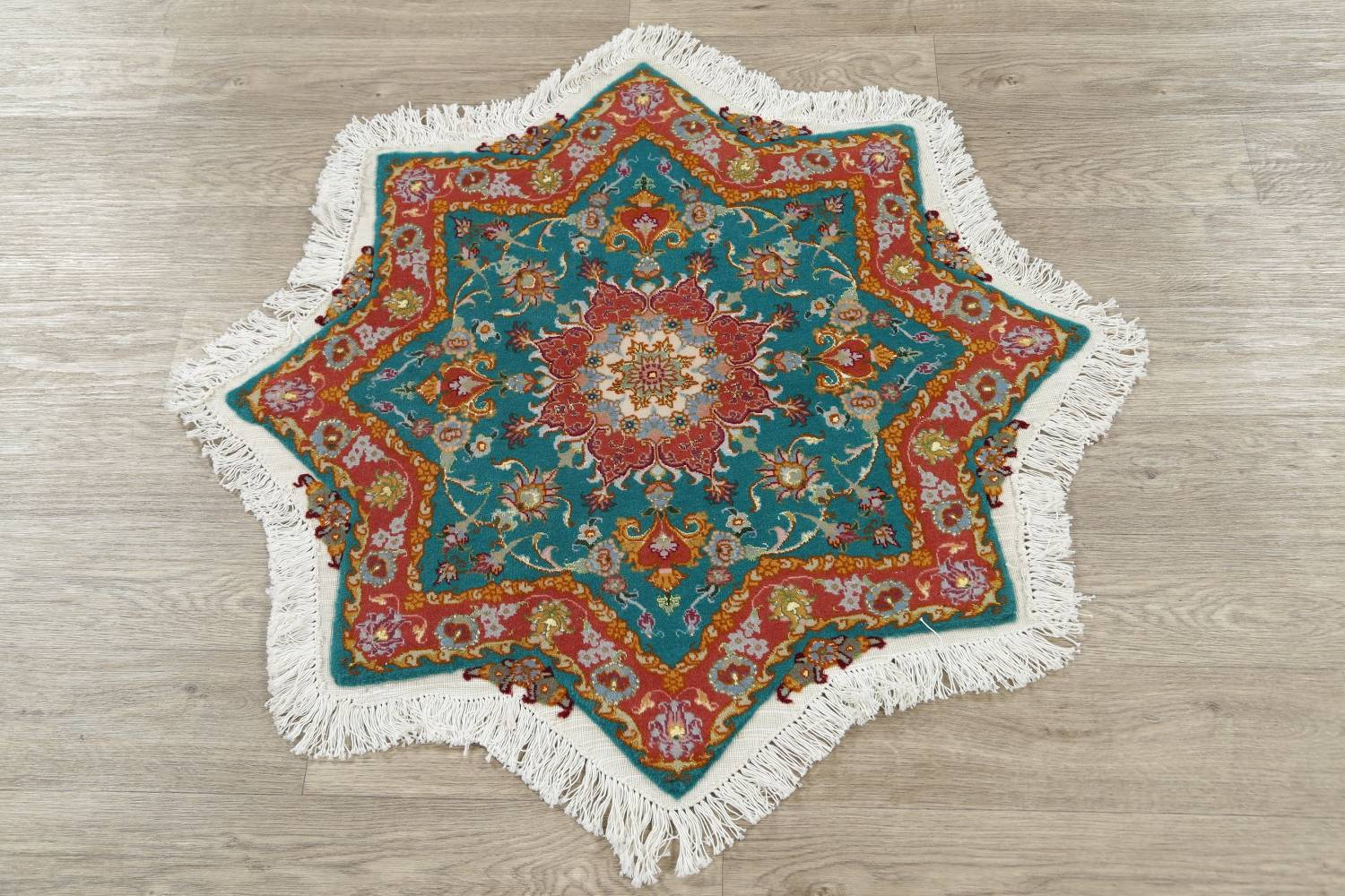 Floral Teal Tabriz Persian Hand-Knotted 3x3 Wool Silk Star Rug image 9