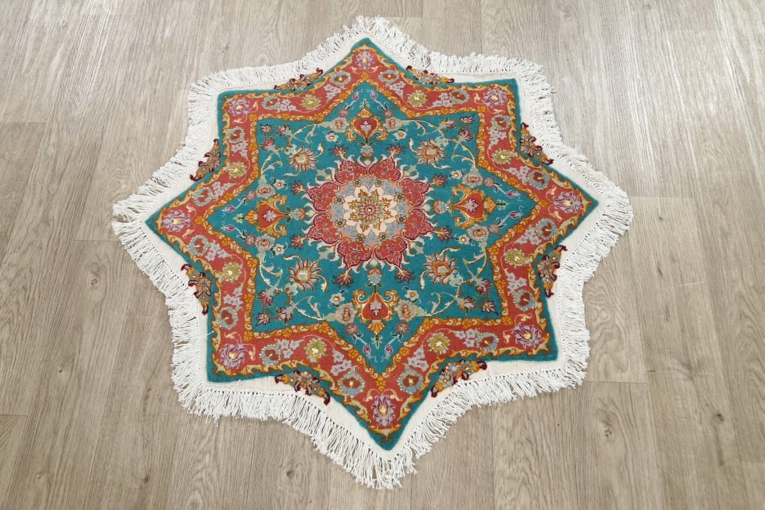 Floral Teal Tabriz Persian Hand-Knotted 3x3 Wool Silk Star Rug image 8