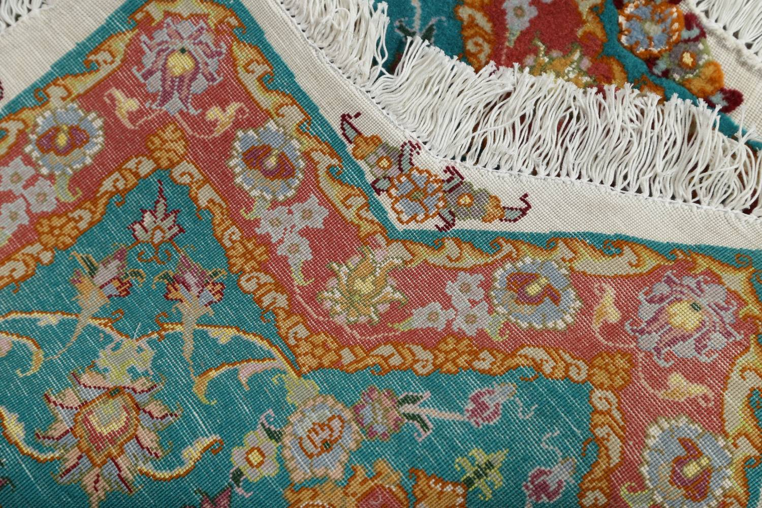 Floral Teal Tabriz Persian Hand-Knotted 3x3 Wool Silk Star Rug image 11