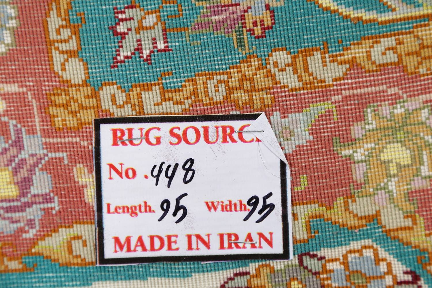 Floral Teal Tabriz Persian Hand-Knotted 3x3 Wool Silk Star Rug image 12