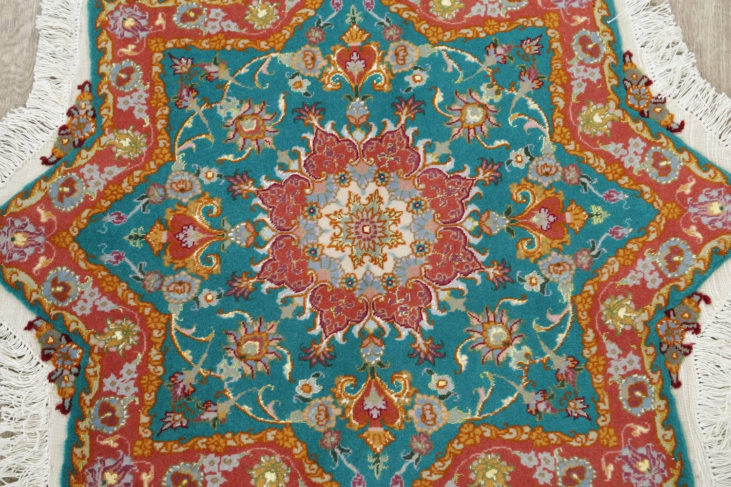 Floral Teal Tabriz Persian Hand-Knotted 3x3 Wool Silk Star Rug image 3