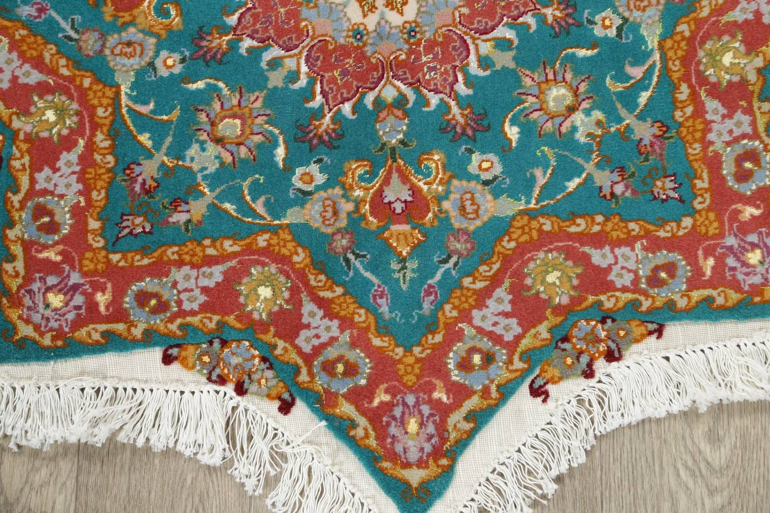 Floral Teal Tabriz Persian Hand-Knotted 3x3 Wool Silk Star Rug image 5