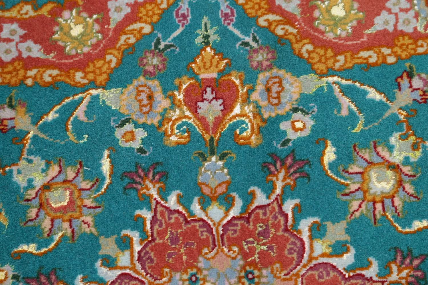 Floral Teal Tabriz Persian Hand-Knotted 3x3 Wool Silk Star Rug image 6