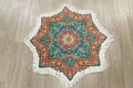 Floral Teal Tabriz Persian Hand-Knotted 3x3 Wool Silk Star Rug image 2