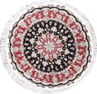 Geometric Tabriz Persian Hand-Knotted 4x4 Wool Silk Round Area Rug