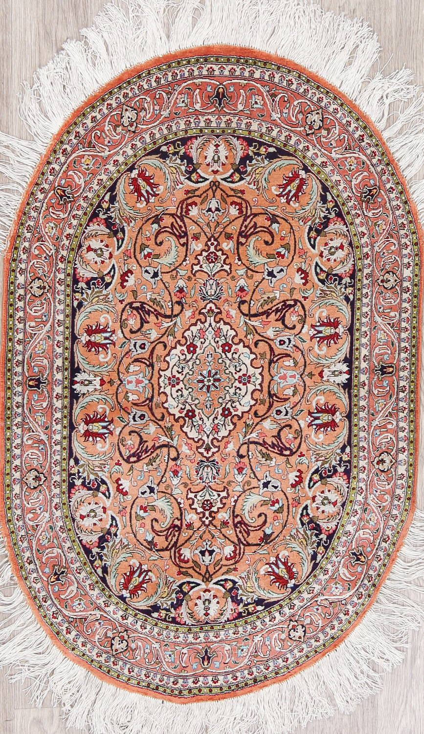 Antique Rust Geometric Hereke Turkish Oriental 3x4 Silk Oval Rug