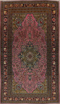 Antique Floral Tabriz Persian Hand-Knotted 4x6 Wool Silk Area Rug