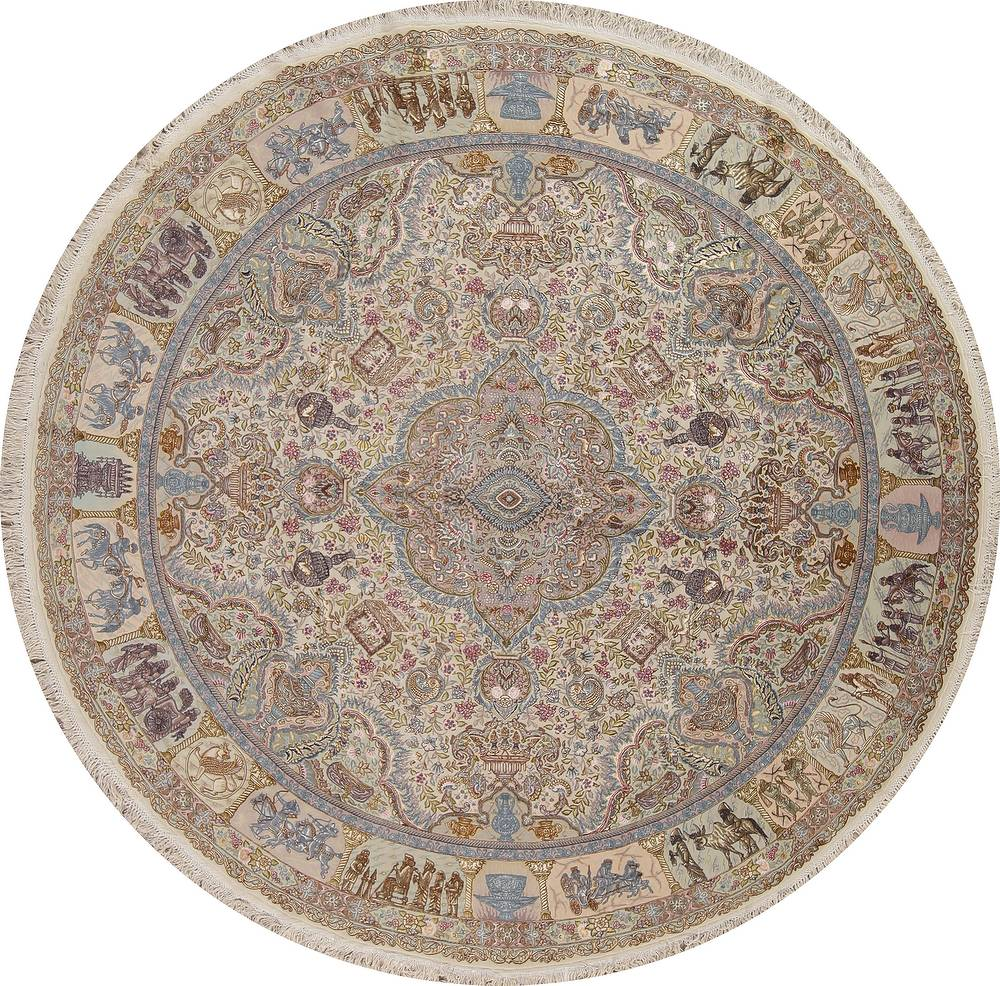 Antique Vegetable Dye Tabriz Persian Hand-Knotted 8x8 Wool Silk Round Rug image 1