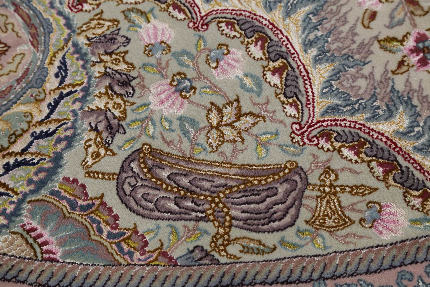 Antique Vegetable Dye Tabriz Persian Hand-Knotted 8x8 Wool Silk Round Rug image 9