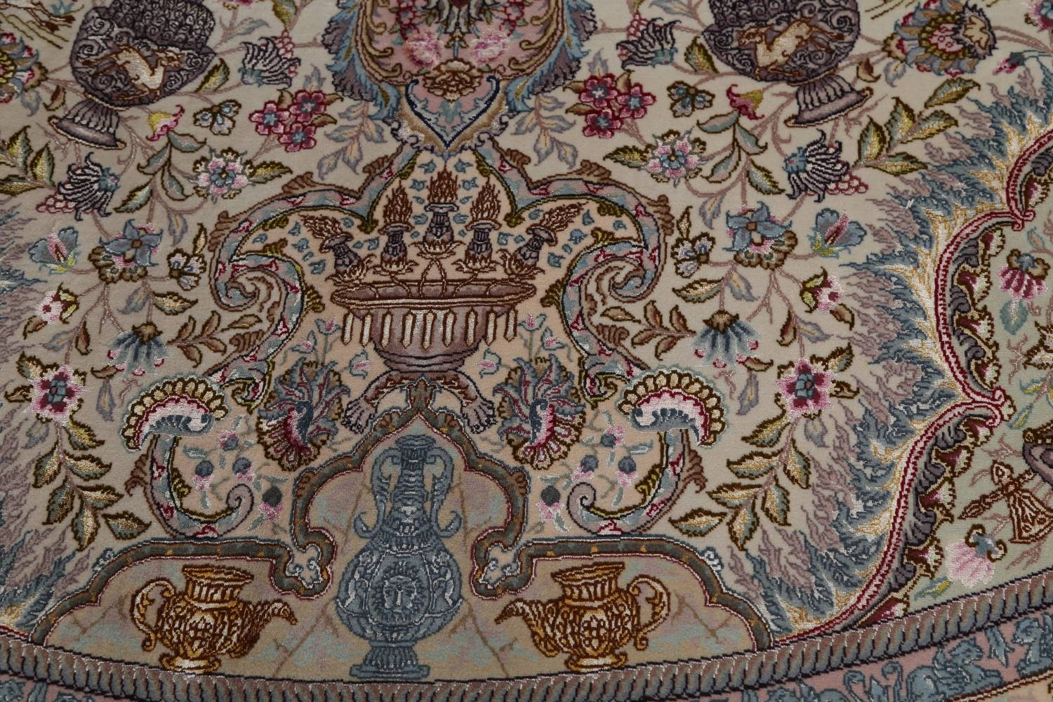 Antique Vegetable Dye Tabriz Persian Hand-Knotted 8x8 Wool Silk Round Rug image 11