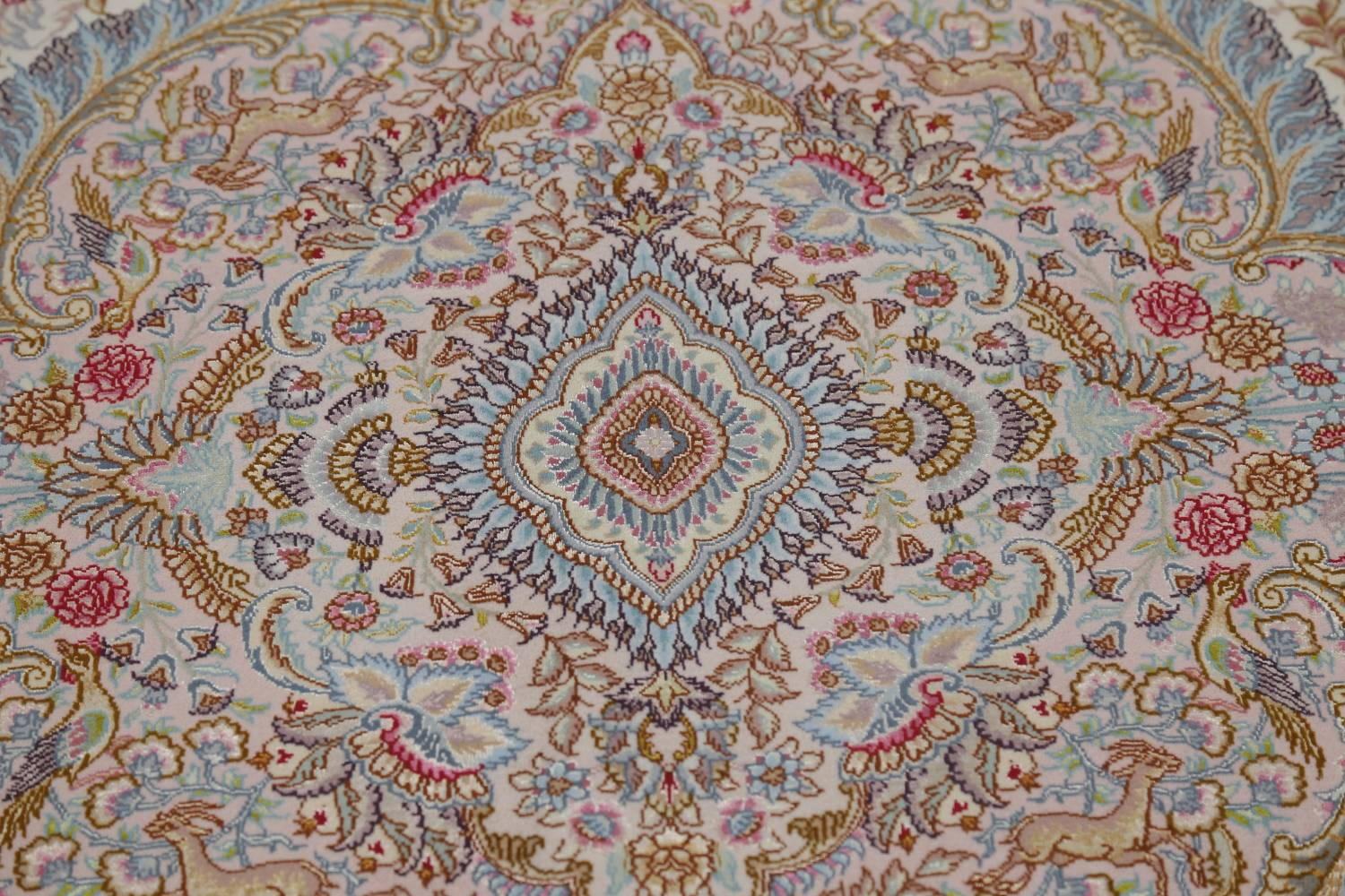 Antique Vegetable Dye Tabriz Persian Hand-Knotted 8x8 Wool Silk Round Rug image 12