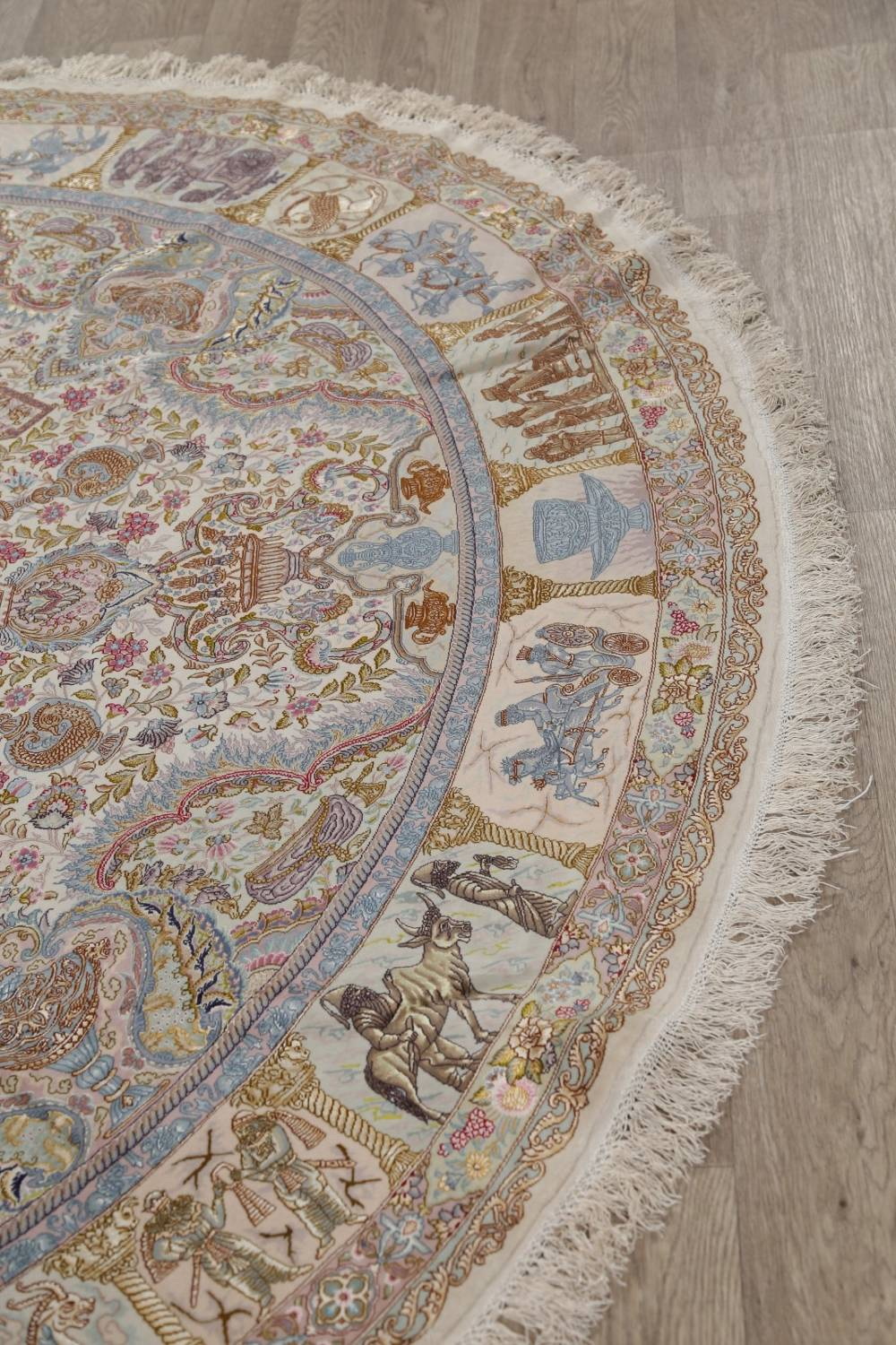 Antique Vegetable Dye Tabriz Persian Hand-Knotted 8x8 Wool Silk Round Rug image 14