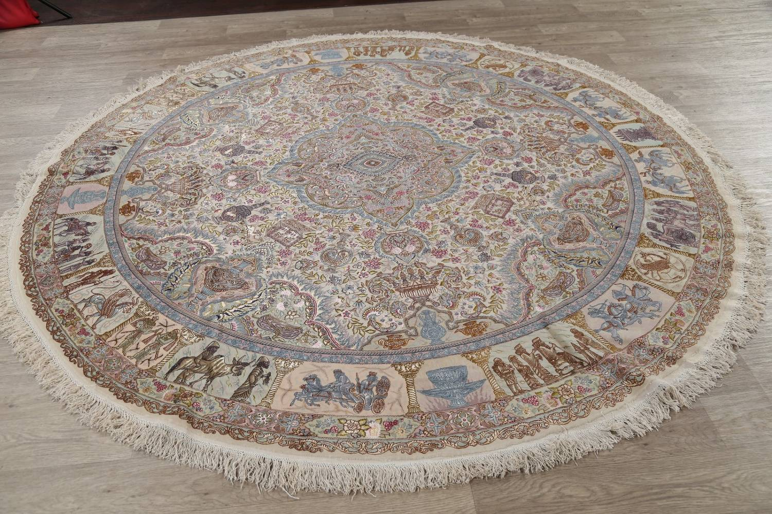 Antique Vegetable Dye Tabriz Persian Hand-Knotted 8x8 Wool Silk Round Rug image 15