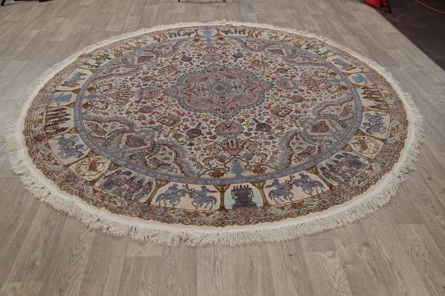 Antique Vegetable Dye Tabriz Persian Hand-Knotted 8x8 Wool Silk Round Rug image 16