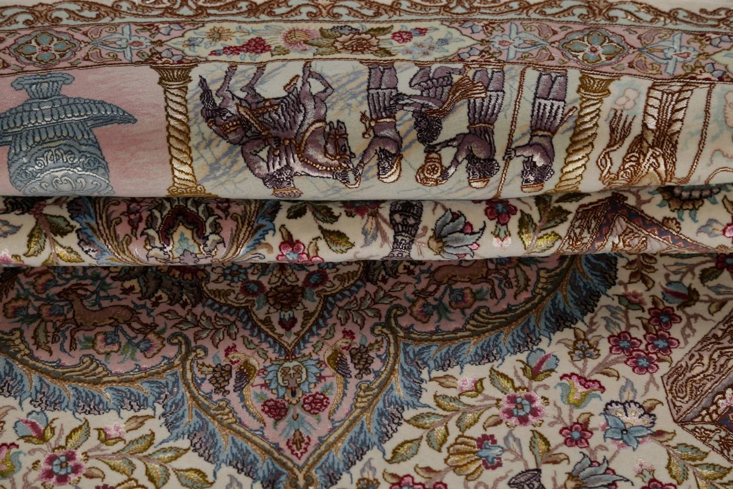 Antique Vegetable Dye Tabriz Persian Hand-Knotted 8x8 Wool Silk Round Rug image 17