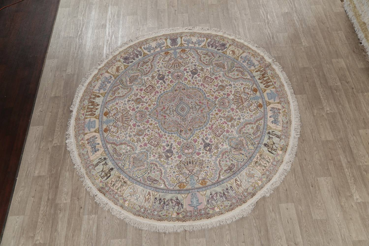 Antique Vegetable Dye Tabriz Persian Hand-Knotted 8x8 Wool Silk Round Rug image 2