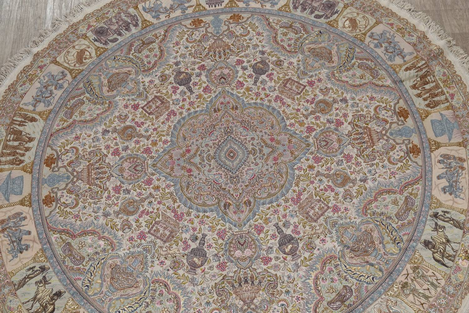 Antique Vegetable Dye Tabriz Persian Hand-Knotted 8x8 Wool Silk Round Rug image 3