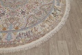 Antique Vegetable Dye Tabriz Persian Hand-Knotted 8x8 Wool Silk Round Rug image 6