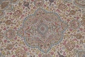 Antique Vegetable Dye Tabriz Persian Hand-Knotted 8x8 Wool Silk Round Rug image 4