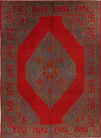 Pre-1900 Vegetable Dye Oushak Turkish Oriental 8x12 Wool Area Rug