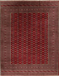 All-Over Geometric Bokhara Pakistan Oriental 12x15 Wool Area Rug