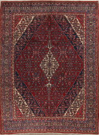 Geometric Red Hamedan Persian Hand-Knotted 9x12 Wool Area Rug