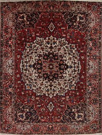 Geometric Red Bakhtiari Persian Hand-Knotted 10x13 Wool Area Rug
