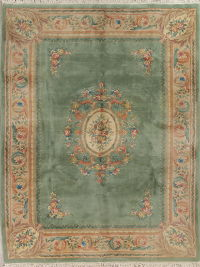 Green Floral Art Deco Chinese Oriental Hand-Knotted 9x12 Wool Area Rug