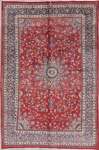 Floral Red Shahbaft Persian Hand-Knotted 7x10 Wool Area Rug