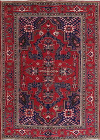 Geometric Red Tabriz Persian Hand-Knotted 7x10 Wool Area Rug