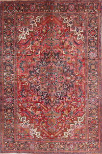 Geometric Red Heriz Persian Hand-Knotted 7x10 Wool Area Rug