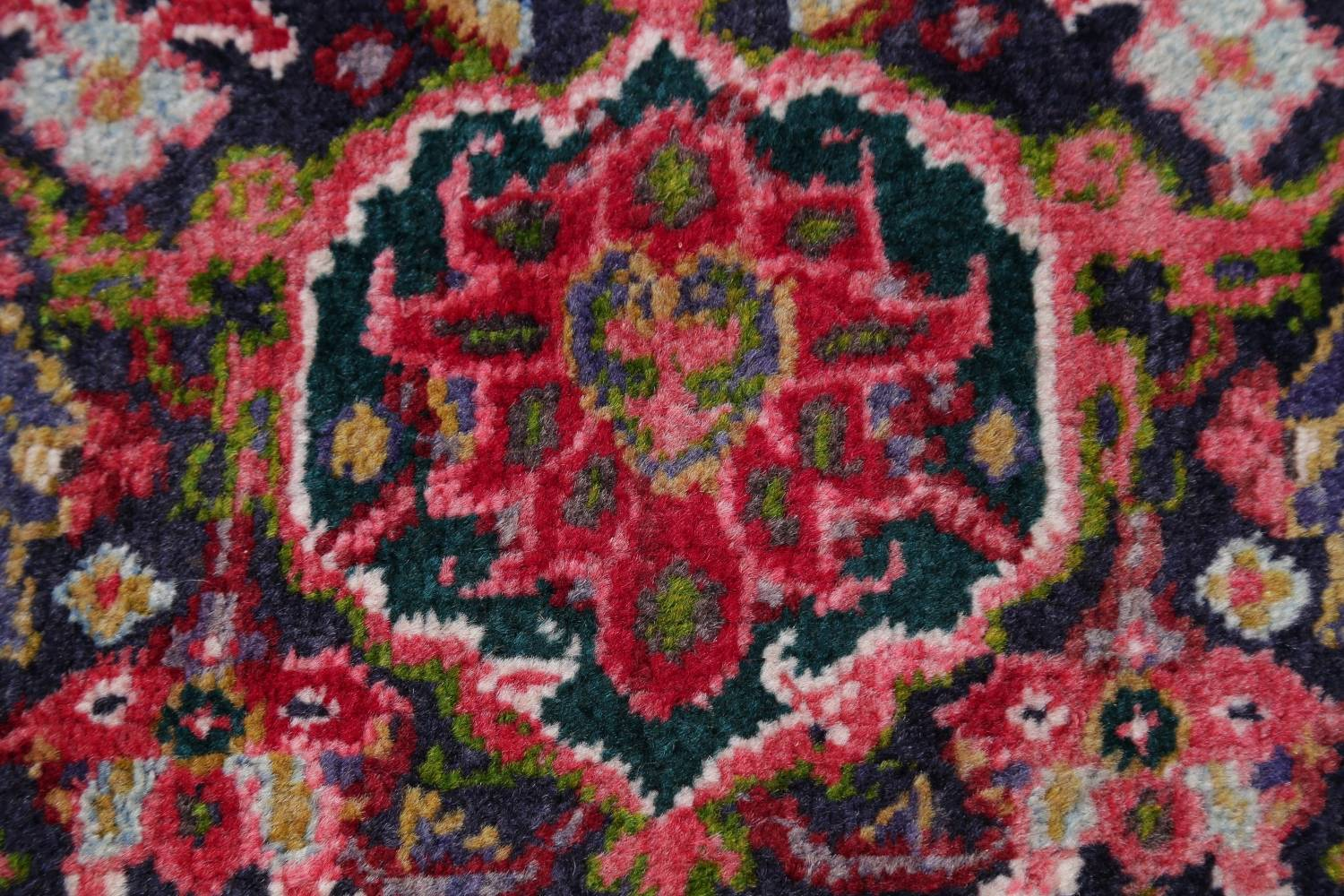 Geometric Red Pink Heriz Persian Hand Knotted 7x10 Wool