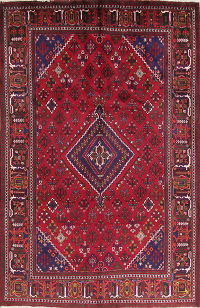 Geometric Red Joshaghan Persian Hand-Knotted 7x10 Wool Area Rug