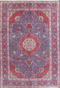 Floral Blue Tabriz Persian Hand-Knotted 7x10 Wool Area Rug