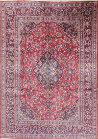 Traditional Floral Kashan Persian Hand-Knotted 7x9 Wool Area Rug