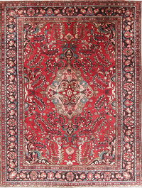 Floral Red Lilian Persian Hand-Knotted 8x11 Wool Area Rug