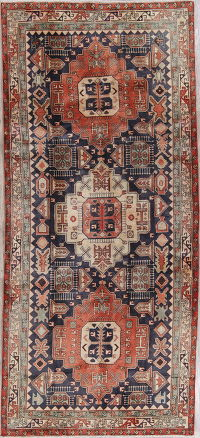 Geometric Ardebil Persian Tribal Hand-Knotted 5x11 Wool Runner Rug