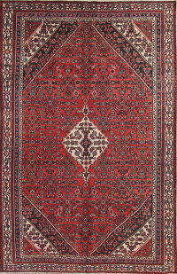 Geometric Red Bibikabad Persian Hand-Knotted 7x12 Wool Area Rug