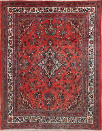 Floral Red Hamedan Persian Hand-Knotted 8x10 Wool Area Rug