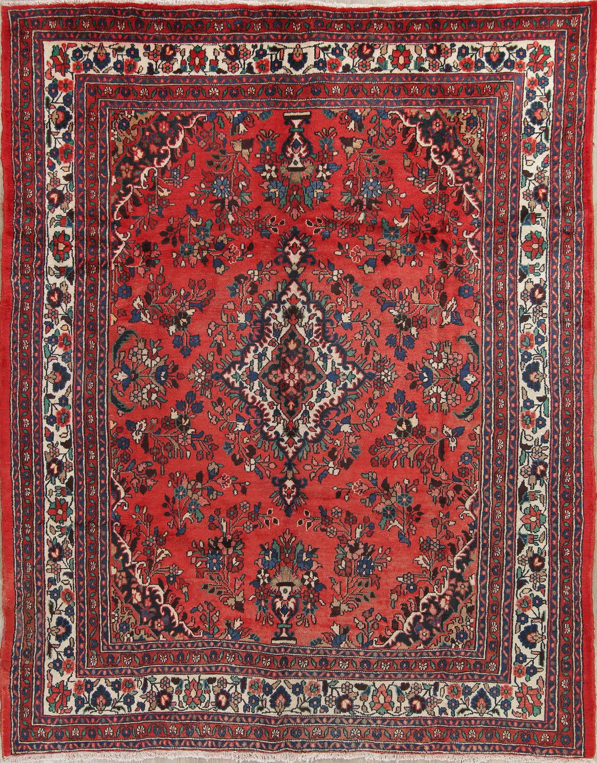 Fl Red Hamedan Persian Hand Knotted 8x10 Wool Area Rug One Of A Kind