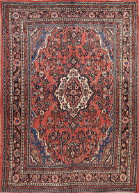 Geometric Red Hamedan Persian Hand-Knotted 7x9 Wool Area Rug