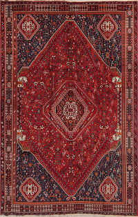 Geometric Red Abadeh Persian Hand-Knotted 5x8 Wool Area Rug