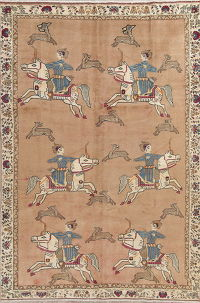 Hunting Design Pictorial Shiraz Persian Hand-Knotted 7x10 Wool Area Rug