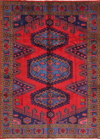 Geometric Viss Persian Hand-Knotted 7x10 Wool Area Rug