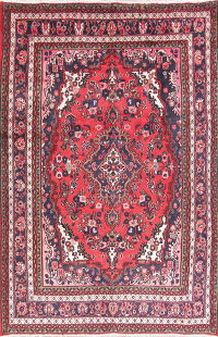 Floral Red Hamedan Persian Hand-Knotted 7x11 Wool Area Rug
