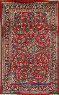 Floral Red Sarouk Persian Hand-Knotted 7x10 Wool Area Rug