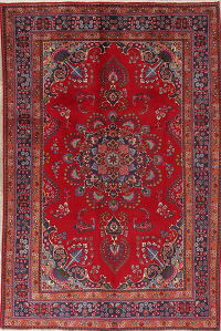 Traditional Floral Mashad Persian Hand-Knotted 7x10 Wool Area Rug