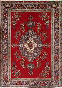 Geometric Red Tabriz Persian Hand-Knotted 7x9 Wool Area Rug