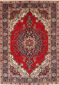 Traditional Floral Tabriz Persian Hand-Knotted 6x9 Wool Area Rug