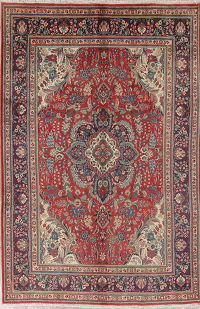 Traditional Floral Tabriz Persian Hand-Knotted 6x10 Wool Area Rug